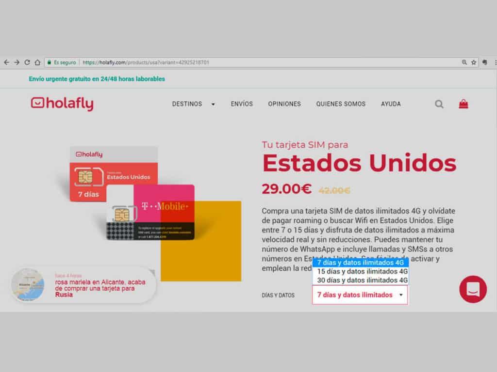internet estados unidos con tarjeta SIM