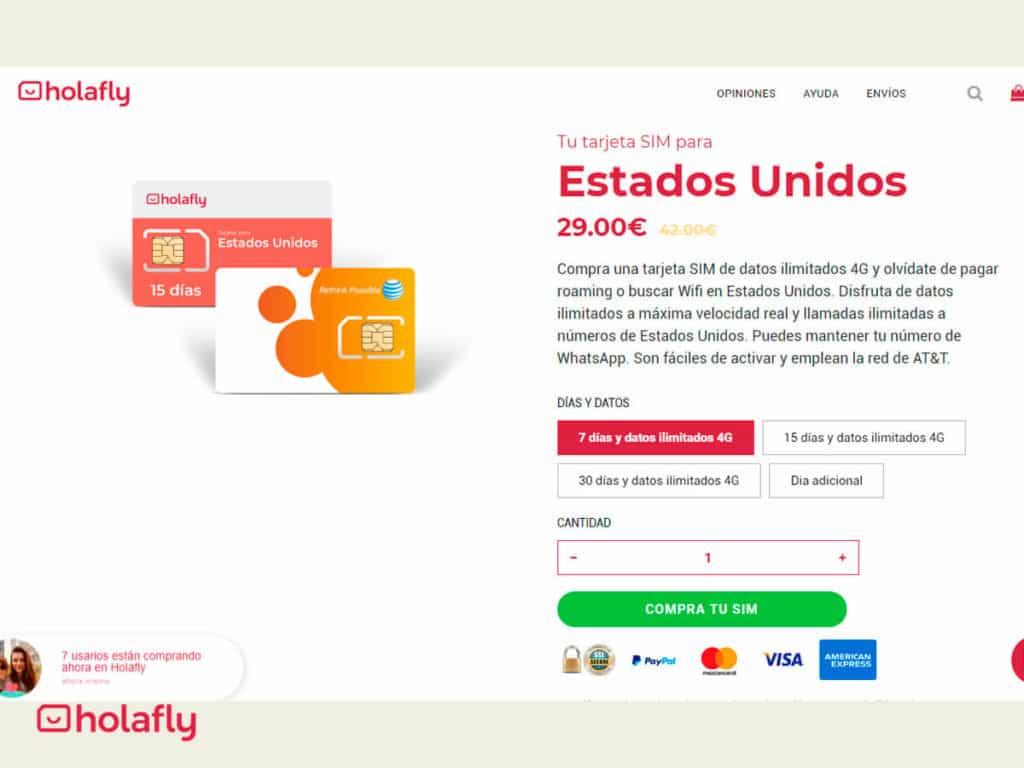 tienda online tarjetas SIM de Holafly