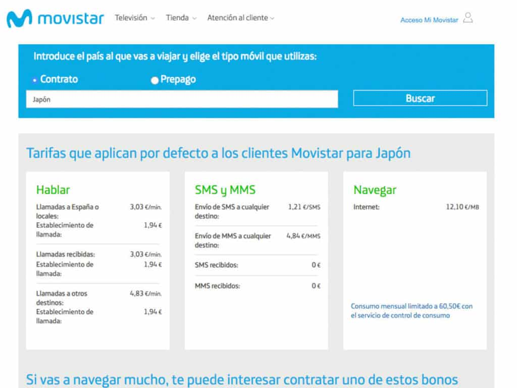 roaming movistar japon