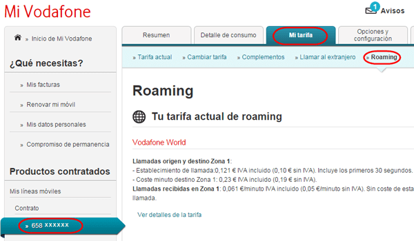 Mi Vodafone roaming Turquía