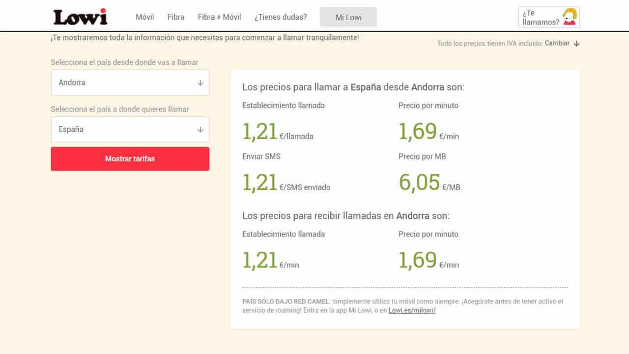 tarifas del roaming andorra con lowi para internet y llamadas