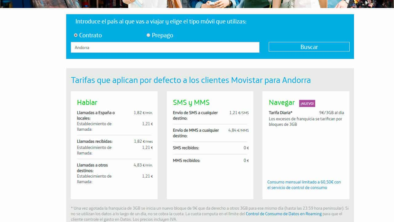 roaming movistar en andorra