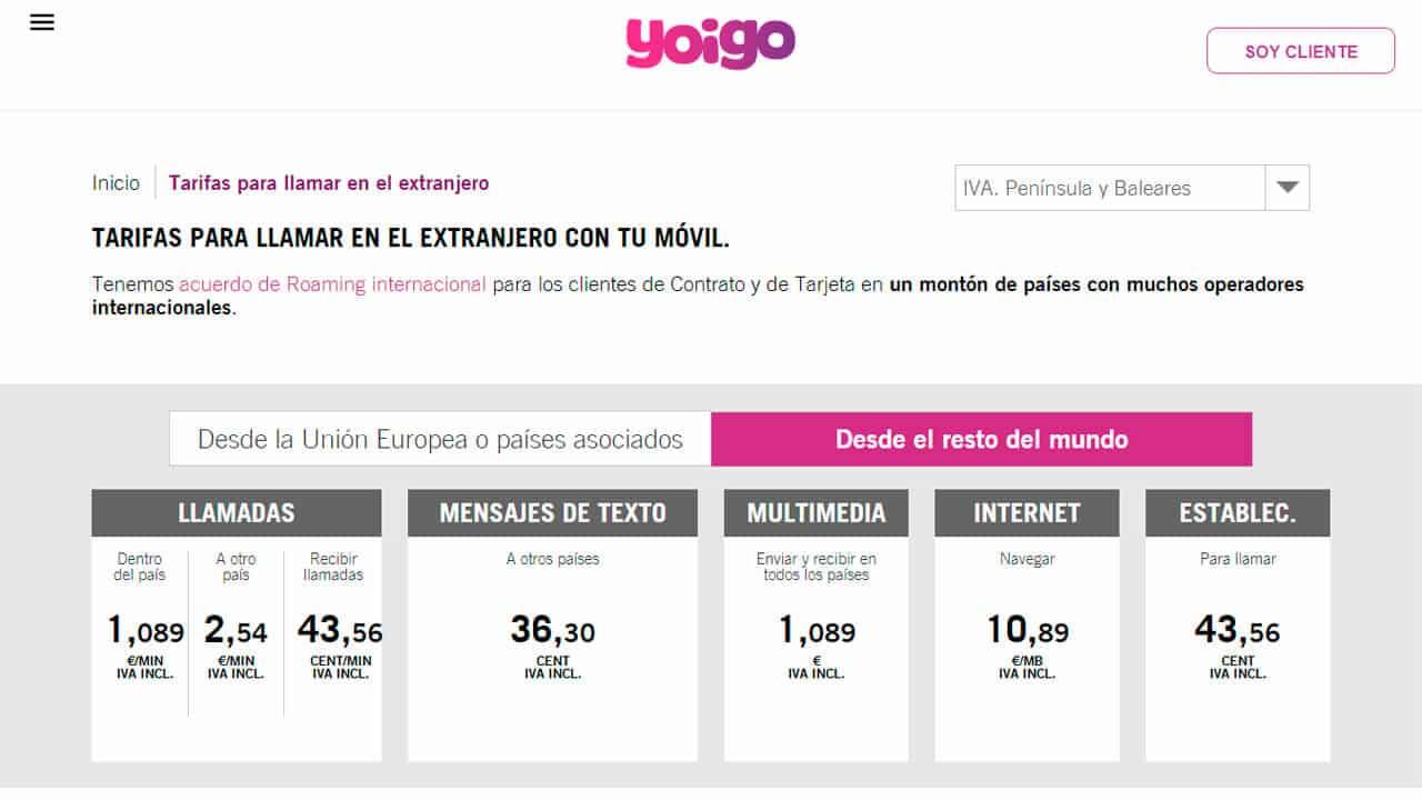 tarifas roaming andorra con yoigo