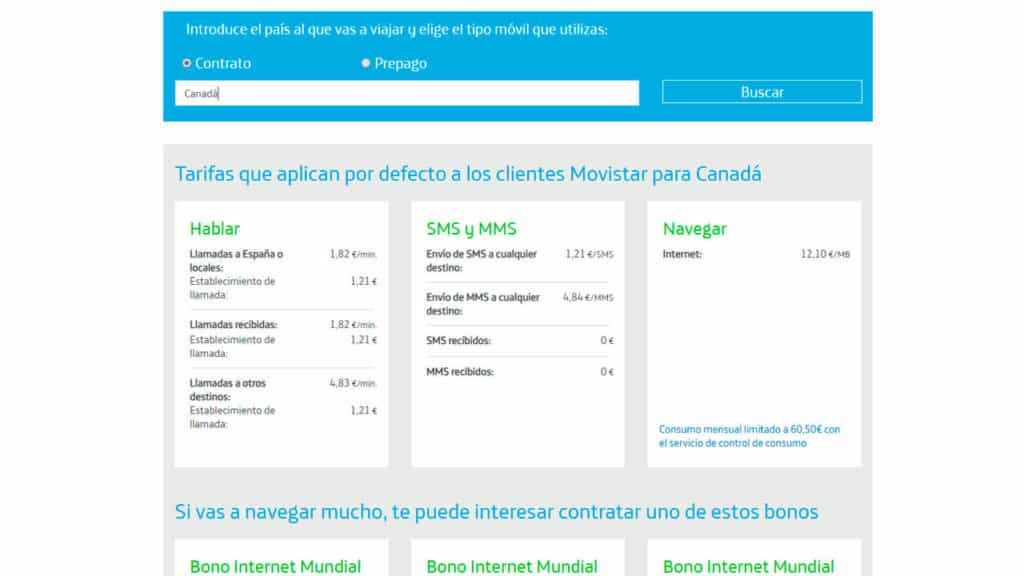 roaming canada movistar