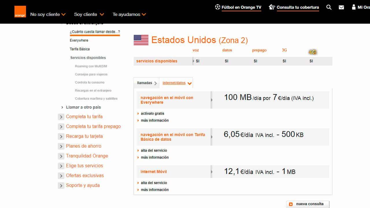 roaming norteamerica en estados unidos con orange