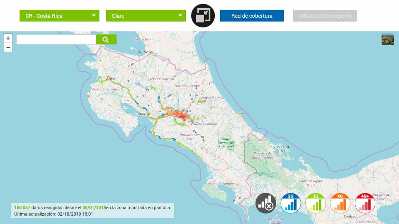 mapa de cobertura claro para internet costa rica