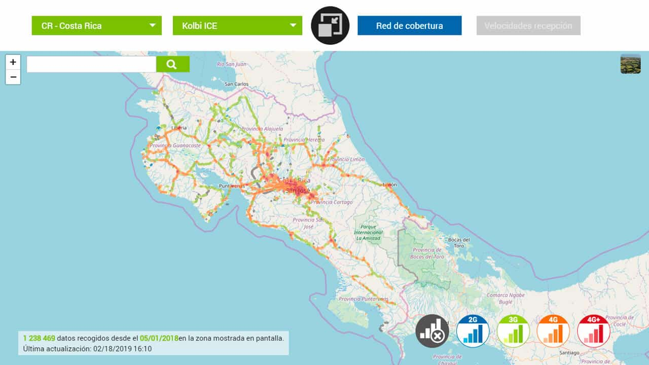 mapa de cobertura de kolbi para internet costa rica