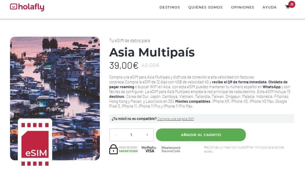 esim internet en el extranjero en asia varios países holafly