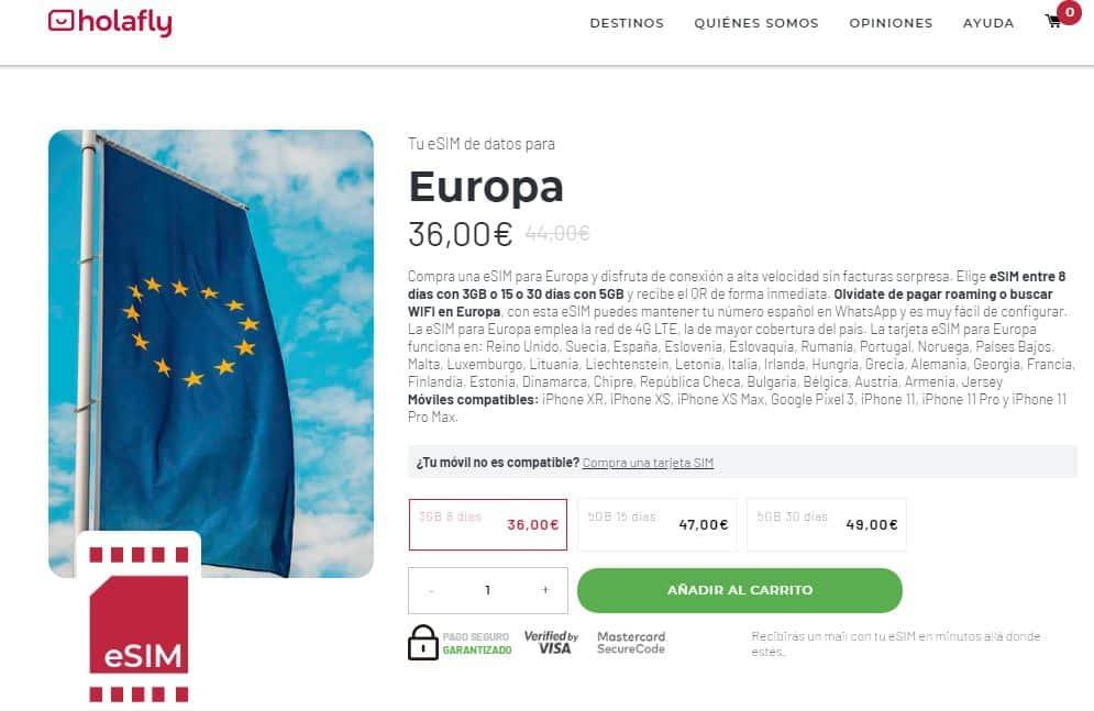 esim holafly internet europa en el extranjero