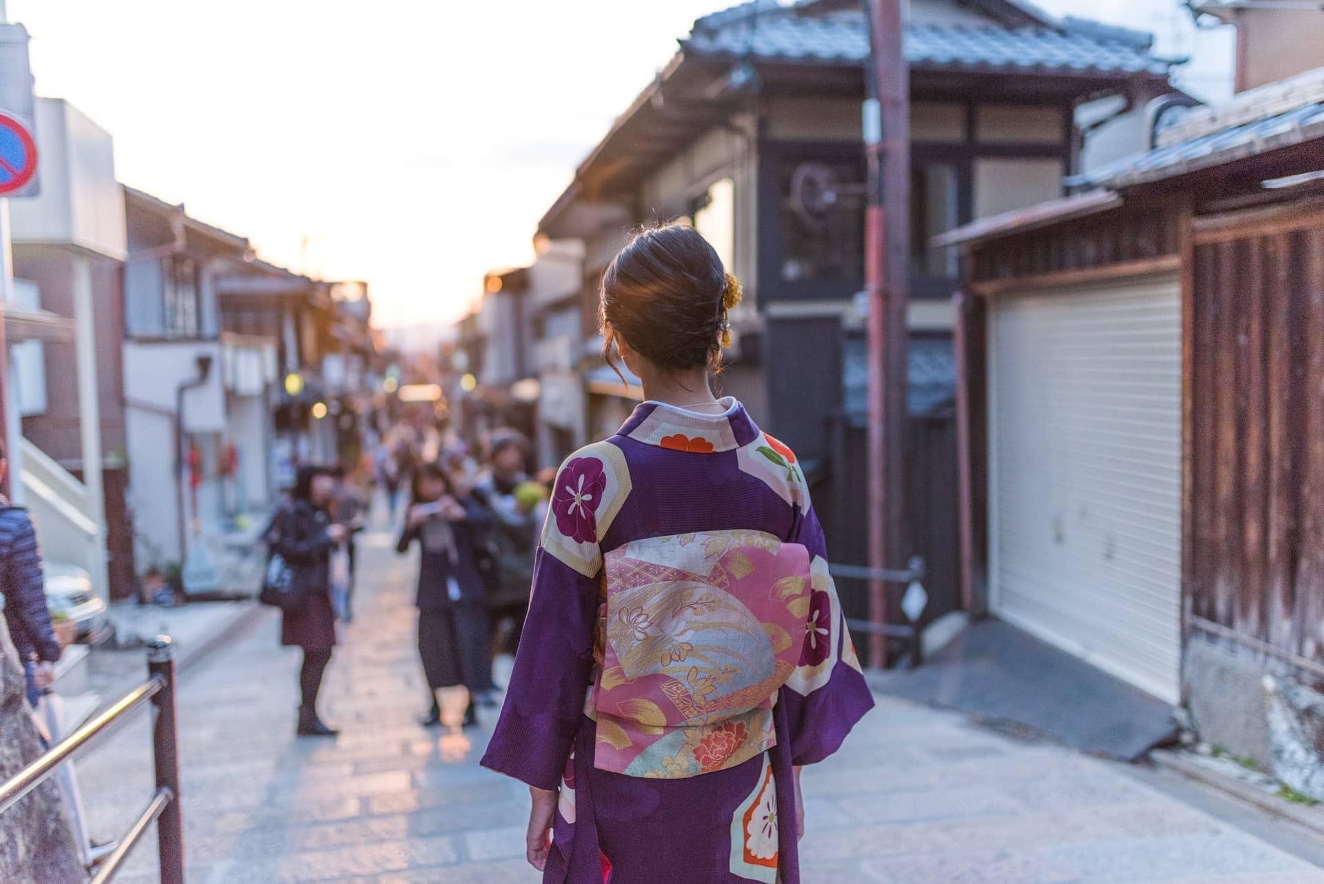 Calle de Ninenzaka en Higashiyama, Kioto, ciudades de Japón