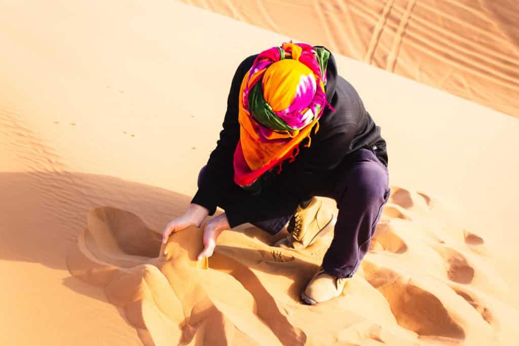 Arena fina del Sahara, desierto de Marruecos