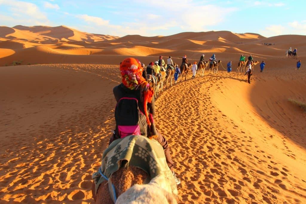Caravana de camellos en Merzouga, desierto de Marruecos