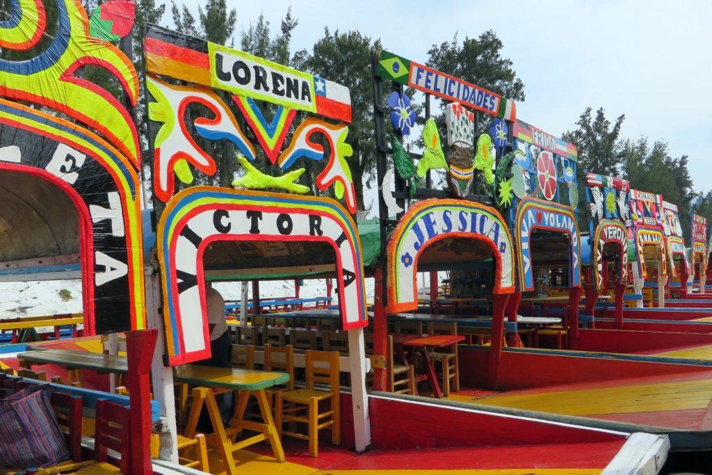 Trajineras en Xochimilco, ciudad de México