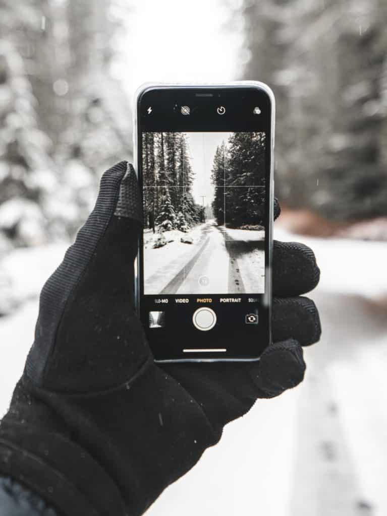 tomar fotografías entre pinos cembro y nieve para compartir en redes sociales