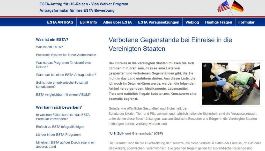 ESTA-Verbotene Gegenstände