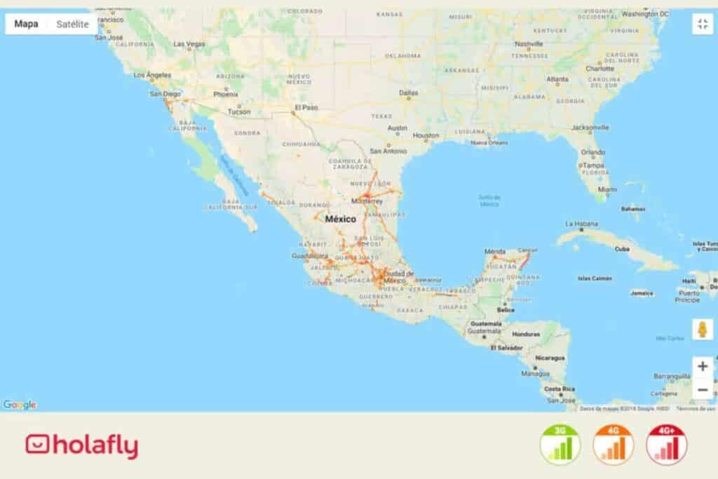 Karte mit Netzabdeckung von Nextel in Mexiko