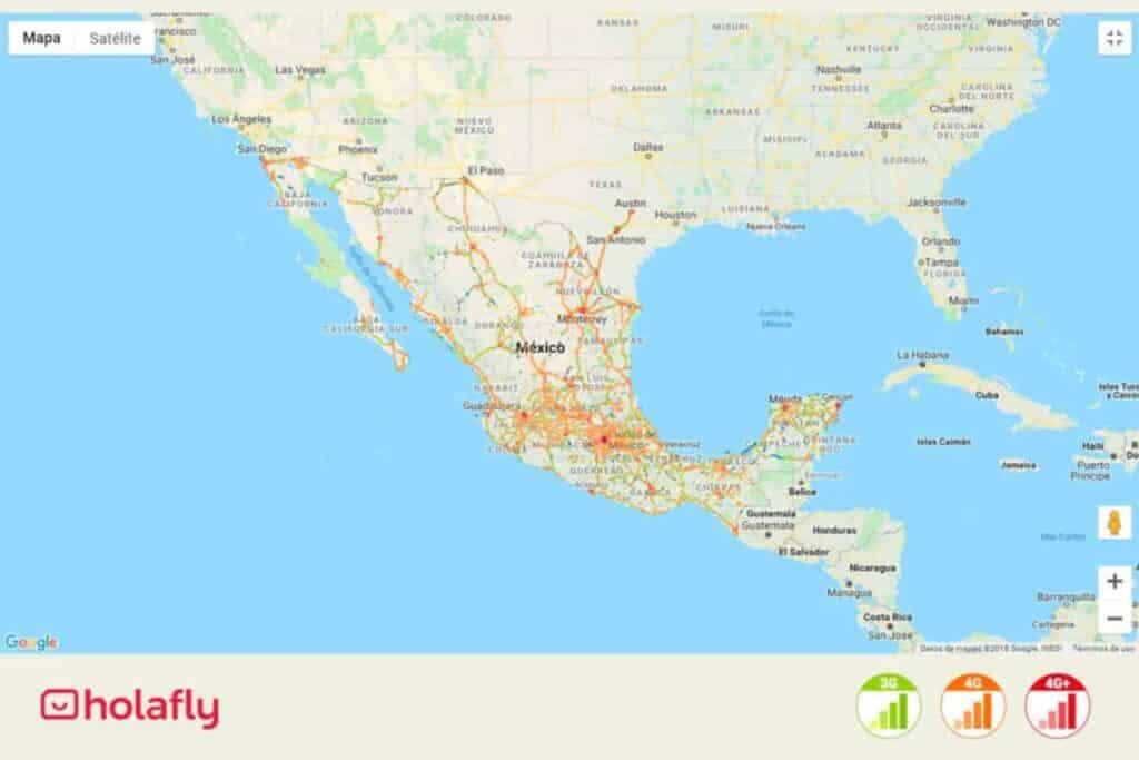 Karte mit Netzabdeckung von Telcel in Mexiko