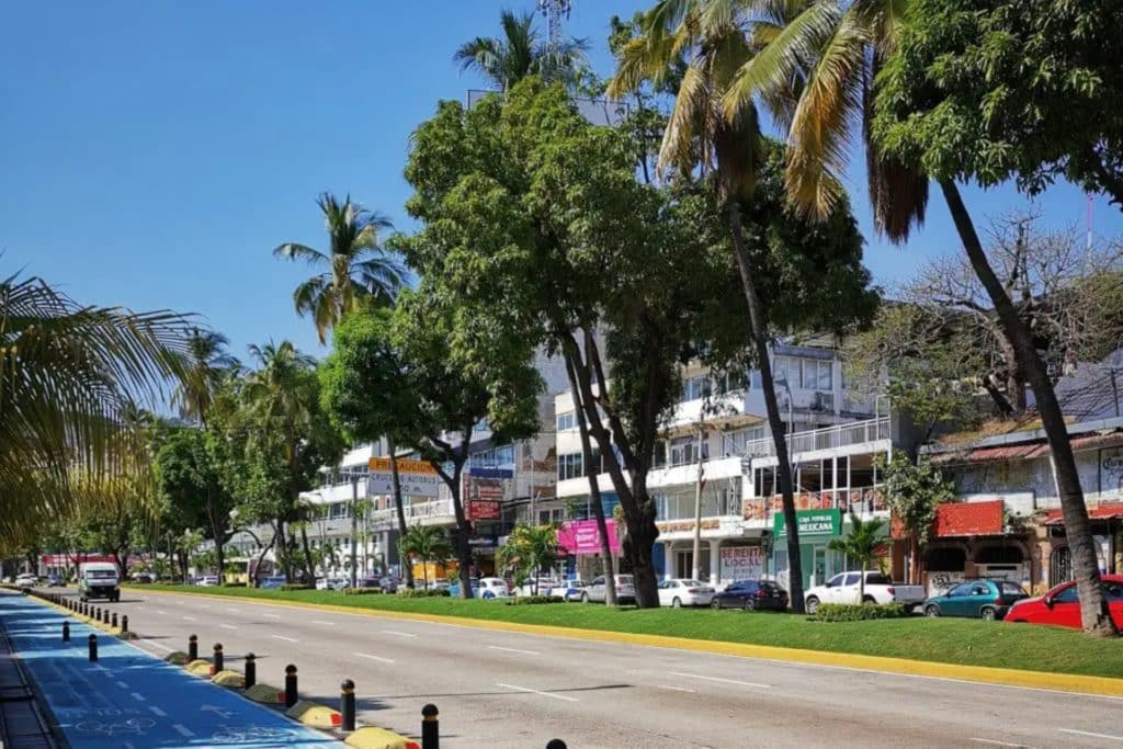Avenue principale Acapulco avec ses commerces, acapulco mexique